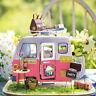 Robotime Puppenhaus Hölzerne Miniaturmöbel Caravan-Modellbausätze Happy Camper