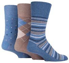 6 Pairs Mens Brown Blue Argyle Stripe Spot Cotton Gentle Grip Socks, Size 6-11
