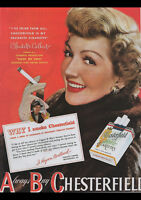 """VINTAGE CHESTERFIELD CIGARETTES 1949 AD REPRO A4 CANVAS PRINT POSTER 11.7""""x8.3"""""""