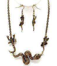 NUOVO ANTICO GOLD TONE topazio cristallo serpente LIZARD SCORPION collana orecchini set