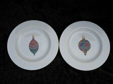Gibson Westcliff Christmas Ornament 2 Dessert Plates Purple Green Multicolor