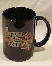 HARELY DAVIDSON COFFEE MUG CUP LIVE TO RIDE BLACK 2004