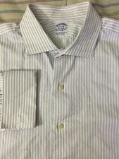 Brooks Brothers Long Sleeve Button Front White Purple 17 1/2 - 35 Slim Fit