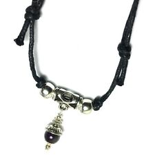"Amethyst Gemstone Silver Choker Necklace Pendant Adjustable Black Cord 13""-24"""
