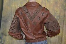 vtg 80s AVANT GARDE choco leather INSET brown MOTO leather jacket coat M L
