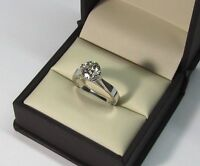1.00 Ct Round Solitaire Moissanite Engagement Ring 14K Solid White Gold Rings