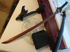 "Shinwa Copper 1060 HC Ninja Katana Sword Knife Full Tang 40"" w Display Stand New"