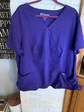 Greys Anatomy Scrub Top Womens 3xl Plus Purple Nurse Barco Free Shipping