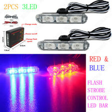 Red Blue 2X 3LED Control Car Truck Emergency Warning Strobe Flash Lights Police
