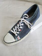 Paul Smith navy blue canvas suede stripe plimsoll sneakers trainers UK 7 US 8