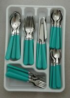 New 48pc Teal Stainless Steel Flatware Set Silverware Fork Butter Knife Spoon