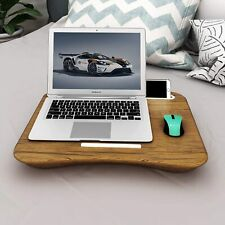 Lap Desk Laptop Table Portable Tray Bed Handle Phone Holder Foam Cushion Brown