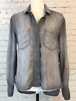 Cloth & Stone Womens Shirt Size XS Gray Denim Long Sleeve High Low Hem Split