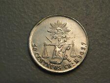 Rare 1885 Ch AM Mexico Second Republic Silver 50 Centavos- AU/BU, Light Cleaning