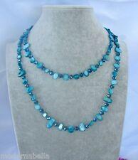 Naturale perle Collana Filo lungo madreperla,cristallo da donna,petrolio blu