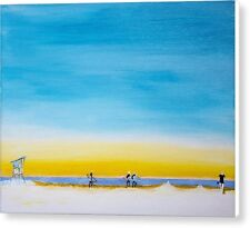 """Surfers On The Beach 11"""" x 14"""" Original Abstract Art Acrylic Painting On Canvas"""