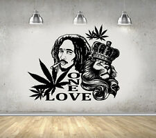 "Bob Marley Lion Zion ""ONE LOVE"" Marijuana Reggae Wall Art Sticker/Decal/Mural"