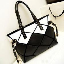 Shoulder Bag Fashion Womens Faux Leather Black White Hobo Tote Handbag Shopper