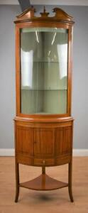 19th Century Satinwood Bow fronted Corner Cabinet