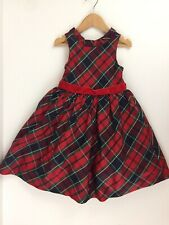 Janie & Jack Holiday Magic in the Woods Silk Plaid Dress Girls 4 Christmas