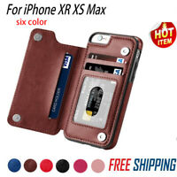 Leather Slim Wallet Credit Card Slot Stand Cover Case for iPhone X 7 8 P XS M EN