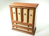 Vintage Storage Chest Jewelry Organizer Apothecary Case 8 Velvet Drawer Cabinet