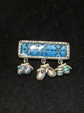 Hands Warm Heart Pin Dangle Mitten Ajmc Silver Tone Turquoise Blue Cold