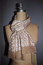 NWT MICHAEL KORS 62x9.5 Women's Camel White MK Monogram Knit Winter Scarf