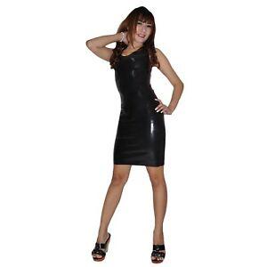 Langes Latexkleid aus Rubber in schwarz, Einheitsgröße