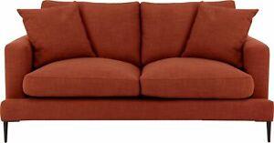 2-Sitzer Sofa Cozy in Struktur Terracotta Polstersofa Couch Metallbeinen