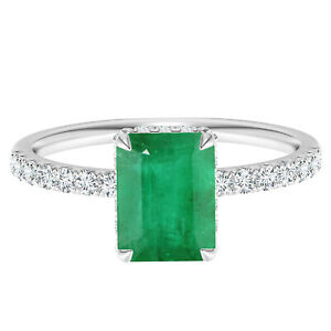 Four Prong Set Radiant Cut Emerald Solitaire Accents Ring 10K White Gold
