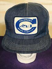 Vintage Colorado Bean Co. Farmer K BRAND Product Snapback Trucker HAT CAP Denim