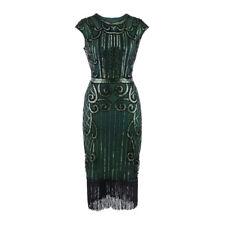 UK Womens 1920s Vintage Sequin Fringe Long Gatsby Flapper Cocktail Bodycon Dress