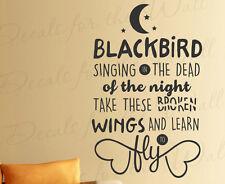Blackbird Singing Beatles Song Lyrics I Am Sam Decal Vinyl Wall Art Quote Q55