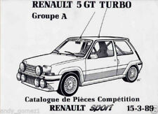 Manual Renault 5 Gt turbo. Grupo A. Catalogo de Piezas. 28 Paginas. Frances.