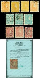 VENEZUELA 1880  Simon Bolivar complete set  5c - 25b  Scott 58-67 used F/VF