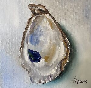 KRISTINE KAINER:  ORIGINAL Oyster Shell Oil Daily Painting a Day
