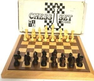 12x12 Fold-able Wooden Chess Set Board Game Toy Set Nice Self Storage EUC
