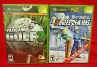 Outlaw Golf 2 + 9 More Holes of X-Mas - 2 Game Lot Microsoft Xbox OG Tested