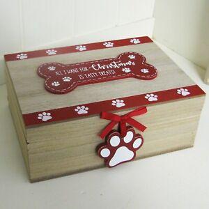 Dog Christmas Treats Box Gift Pet Keepsake All I Want For Xmas Is Tasty Treats