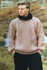 "Patons Aran  Knitting  Pattern 3903 Mens Sweater  Jumper Size  Size 32/44"" Chest"