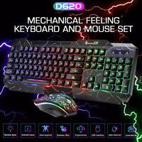 Mechanische Feeling Beleuchtet Verkabelt Gaming Tastatur & Maus Set Für PC
