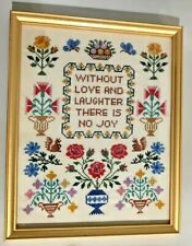 1972 Without Love & Laughter There Is No Joy Cross Stitch Frame 11x14 Minerva