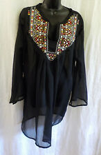 Cute Options Sheer Blouse Size L NWT Black Embroider Sparkle Rayon 3/4 Sleeves
