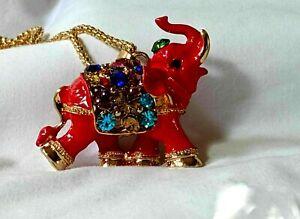 "NWT Betsey Johnson ELEPHANT RED ENAMEL 3D  Pendant NECKLACE 27"" Chain"