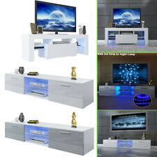 TV Unit Cabinet Stand Sideboard Cupboard Matt Body & High Gloss Doors LED Lights