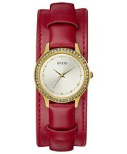 30mm Gold Tone Ladies Watch U1150L1 Guess Red Removable Leather Cuff Strap