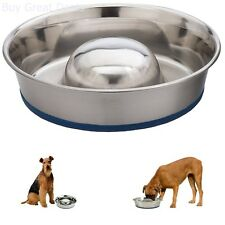 Pet Slow Feed Stainless Steel Dog Bowl Durable Dogs Dish Non Skid Base Large