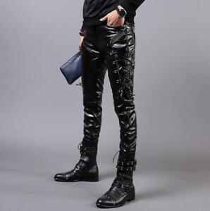 Hot Mens Trenchy faux Leather Side Dacing Lace Up Motorcycle Pants Trousers New