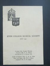 1947 ETON COLLEGE Musical Society Programme JULY School Windsor Berkshire